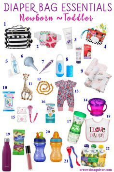 Diaper Bag Essentials - Arrows In A Quiver This is the season of babies! I'm pretty sure everyone I Toddler Diaper Bag, Boy Diaper Bags, Diaper Bag List, Diaper Caddy, Diaper Bag Checklist, Diaper Bag Essentials, Newborn Essentials List, Baby Girl Essentials, Daddy
