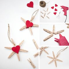 Christmas Jewelry, Diy Christmas Ornaments, Christmas Holidays, Christmas Wreaths, Christmas Decorations, Holiday Decor, Wooden Clothespins, Creation Deco, Crafts For Kids