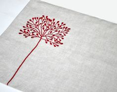 Linen Placemat Embroidered Placemat Fabric Placemat by GLAZDOV