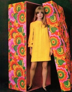 Too cute-- Marianne Faithfull yellow shift dress mini long sleeves vintage  fashion style psychadelic floral color photo print ad mod twiggy ce1f8c3404