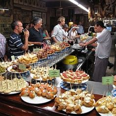 Pintxos bar in San Sebastian (Basque Country- Spain)  Tapas is the Spanish version