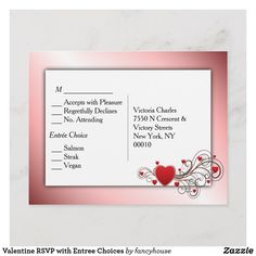 Romantic Hear RSVP with Entree Choices Invitation Postcard #sale