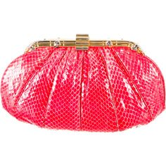 Pre-owned Judith Leiber Python Clutch ($245) ❤ liked on Polyvore featuring bags, handbags, clutches, red, pre owned purses, pre owned handbags, red purse, snakeskin handbags and clasp purse