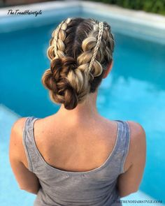 Stacked Braids into a Bun - 20 Easy Party Hairstyles for Long Hair - The Trending Hairstyle - Page 16 Party Hairstyles For Long Hair, Long Face Hairstyles, Trending Hairstyles, Different Hairstyles, Easy Hairstyles, Black Hairstyles, Protective Hairstyles, Natural Hair Styles, Long Hair Styles