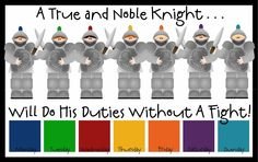 """""""A True & Noble Knight Does His Duty Without A Fight!""""  Awesome themed chore charts, so fun for young kids.  There's also a princess one for little girls."""