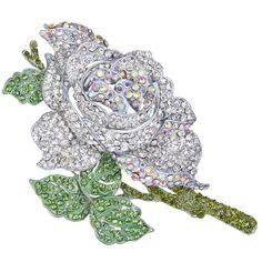 Women's Crystal Enamel Romantic Blooming Rose Flower Leaf Brooch - Green w/ Clear Silver-Tone - CJ126EQEBUF - Brooches & Pins  #jewellrix #Brooches #Pins #jewelry #fashionstyle
