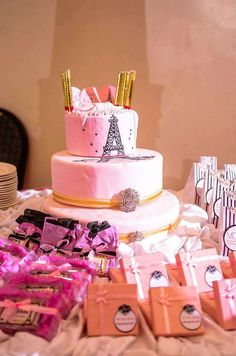 Gorgeous cake at a French birthday party!  See more party planning ideas at CatchMyParty.com!