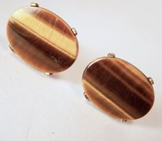 Vintage Men's Cufflinks Tigers Eye Oval Stone by GretelsTreasures