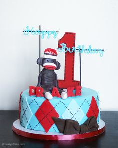 Sock Monkey Birthday Cake - Brooklyn Cake