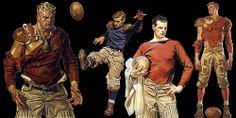 Football player image collage, art by illustrator J.C. Leyendecker