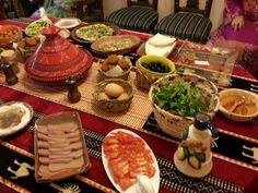 the food buffet in a breakfast party i did for my friends- arabic style