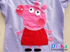 Peppa Pig em patch aplique e moldes da turminha para baixar