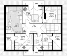 Rzut poddasza projektu Filip House Plans, Floor Plans, House Design, How To Plan, Attic, Interior, Houses, Building Homes, Two Story Houses