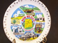New Mexico Souvenir Collector Porcelain China Plate Land of Enchantment Gold Trim   by GarageSaleGlass, $15.99