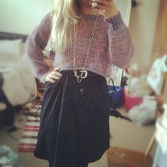 At home down South, tidying my room in my new dress and jumper. Whole outfit £35! Yey Urban Outfitters and H sales.