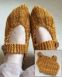 Free Knitting Pattern for Pocketbook Slippers - Great stashbuster for last minute gifts or stocking stuffers! These easy mary jane style slippers fold up in a pocketbook shape that makes them portable enough to carry in your pocketbook! A quick project using less than one skein of yarn. Designed by Lisa Vienneau & Allison Barrett, pictured project by SarahAlderSign