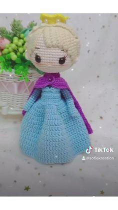 Small Crochet Gifts, Diy Crochet, Crochet Baby, Frozen Crochet, Crochet Dolls Free Patterns, Crochet Doll Pattern, Amigurumi Patterns, Knitting Projects, Crochet Projects