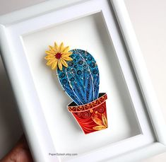 Cactus Paper Artwork Framed,Framed succulent decor,Blue Cactus Plant,Succulent art,Potted cactus,Quilled,Pincushion cactus