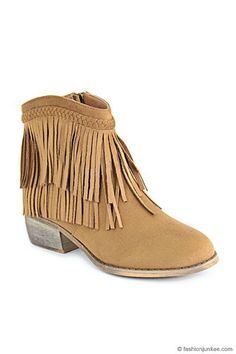 Braided Boho Indie Faux Suede Douoble Fringe Ankle Booties-Camel Brown