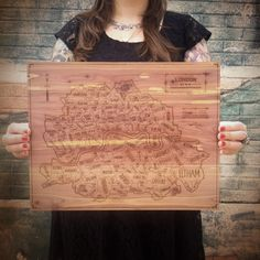 London etched in wood
