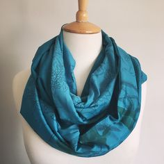 Vintage Floral Sari Snood Sari Fabric, Vintage Floral, Scarves, Teal, Prints, Fashion, Scarfs, Moda, Fashion Styles