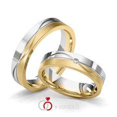 1 Paar Trauringe - Legierung: Weißgold 585/- Gelbgold 585/- Breite: 5,00 - Höhe: 1,60 - Steinbesatz: 1 Brillant 0,02 ct. tw, si (Ring 1 mit Steinbesatz, Ring 2 Trauringe Steinbesatz) When I Get Married, I Got Married, 1 2 3 Gold, Bangles, Bracelets, Cartier Love Bracelet, Piercing, Wedding Rings, Engagement Rings