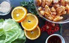 Crispy Orange Chicken Lettuce Wraps