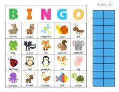 Free Printable Animal Bingo Printable Preschool Activity - file includes 5 boards, card markers, and animal tiles