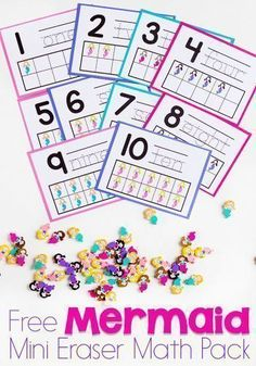 Mini erasers make great math manipulatives! Use them along with this wonder FREE mermaid mini eraser math pack from Life Over C's. Your preschoolers will love this math activity! It comes with 12 different pages of fun mermaid activities for your preschooler including patterns, ten-frames, sorting, and more! Try this free mermaid mini eraser pack today! Kindergarten Math Activities, Pre K Activities, Preschool Activities, Educational Activities, Ocean Activities, Preschool Class, Preschool Printables, Teaching Math, Family Activities