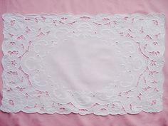 Vintage White Linen Whitework Centerpiece Table by VintageLinens