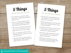 5 Things About the Bride and Groom • This printable is great for a rehearsal dinner, wedding reception, engagement party or bridal shower!