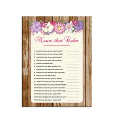 Name That Cake Bridal Shower Game Rustic Wood Fl Theme Enement Party Wedding Couples D832