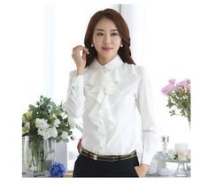Be+into+fashion!+With+this+korean+inspired+long+sleeve+blouse+,+you+will+always+look+updated+with+the+international+trend.    -+Composed+of+cotton+and+polyester.  -+Sizes+available+are+from+S+to+5XL.  -+Ruffled,+Long+Sleeeve,+Bodysuit+shirt