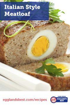 Meatloaf with a secret surprise inside! #Egglandsbest #Meatloaf #Italian #Dinner #Recipes #ad