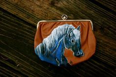 Vintage Horse Wallet Lucky Cobalt  Tan Leather Hand by LuckyHArt