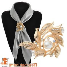 Find More Brooches Information about Fashion china wholesale pearl rhinestone flower wedding gold large brooches /scarf buckle dual for women,High Quality scarf mulberry,China scarf foulard Suppliers, Cheap brooch pin from Yiwu Jackstraw Jewelry Co., Ltd. on Aliexpress.com