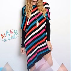 "VERY HIP ASYMMETRICAL STRIPED TUNIC OR MINI Love this! Flattering diagonal stripes in blue, coral, black, pink and white with asymmetrical hemline. Dolman sleeves with solid black from elbow to wrist adds a nice color block effect. 50% cotton, 30% viscose, 15% silk, 5% spandex.♦️Length: shortest point 28.5"", longest point 36""♦️SMALL: Bust 44"" Waist & Hips 38""   MEDIUM: Bust 46"" Waist & Hips 39""     LARGE: Bust 48"" Waist & Hips 40"" PLEASE DO NOT BUY THIS LISTING! I will personalize one for…"