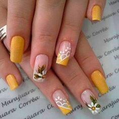 Risultati immagini per unhas decoradas Burgundy Acrylic Nails, Yellow Nails, Colorful Nail Designs, Nail Art Designs, Gorgeous Nails, Pretty Nails, Nail Polish Art, Nail Shop, Flower Nails