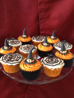 Witches hat and spiders web cupcakes