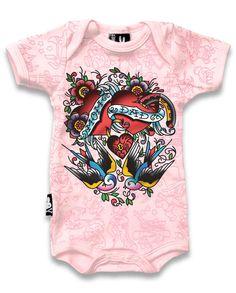 BABY ROMPER ROCKABILLY SIX BUNNIES GIRLS MOM DAD TATTOO HEART SWALLOW ONESIE