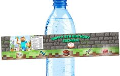 Minecraft Birthday water bottle wrapper  by LilypadGifts on Etsy, $4.25