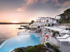 A former villa turned five-star hotel, Hôtel du Cap-Eden-Roc boasts a pool that's carved into the natural rock of Cap d'Antibes. It's heated and saltwater, with incredible views of the Mediterranean surrounding the prestigious, 118-room resort. Want to swim in that too? Make your entrance from the hotel's overwater trapeze.