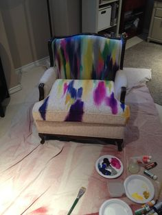 theartgirljackie-tutorials: Artsy Upholstery Makeover: The Painted Chair - Furniture Makeover - Chair Design Painting Fabric Furniture, Funky Painted Furniture, Painted Chairs, Refurbished Furniture, Paint Furniture, Home Decor Furniture, Furniture Makeover, Cool Furniture, Furniture Design