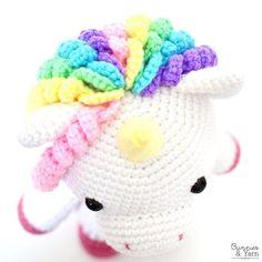 Ravelry: Mimi the Friendly Unicorn pattern by Michelle Alvarez Unicorn Pattern, Crochet Unicorn, Crochet Baby, Free Crochet, Half Double Crochet, Single Crochet, Spanish Pattern, Cute Unicorn, Yarn Needle