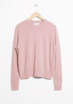 & Other Stories image 2 of Cashmere Knit Sweater in Pink, Size Medium