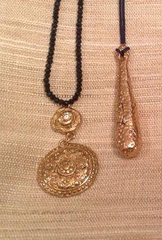 Gold Floral Quatrefoil Bronze Pendant Necklace by trebelladallas, $98.00