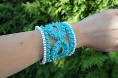 Blue Beaded Crochet Bracelet