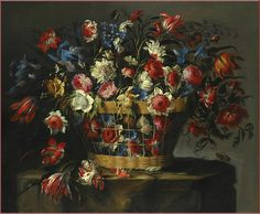 Juan de Arellano 1600s 'A Still Life With Carnations, Parrot Tulips, Roses, Iris, Daffodils, Morning Glory And Lillies Of The Valley' oil on canvas