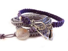 Lavender Haze wrap bracelet by Lobsterpirate on Etsy, $78.00