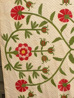 oh my 1853 POMEGRANATE Love Apple MASTERPIECE antique QUILT 9-13spi SIGNED DATED